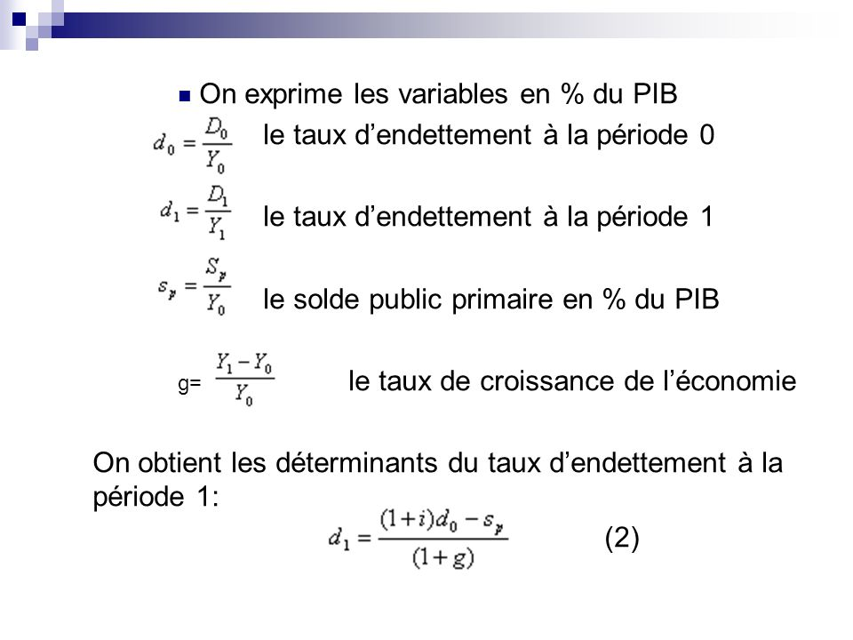On exprime les variables en % du PIB
