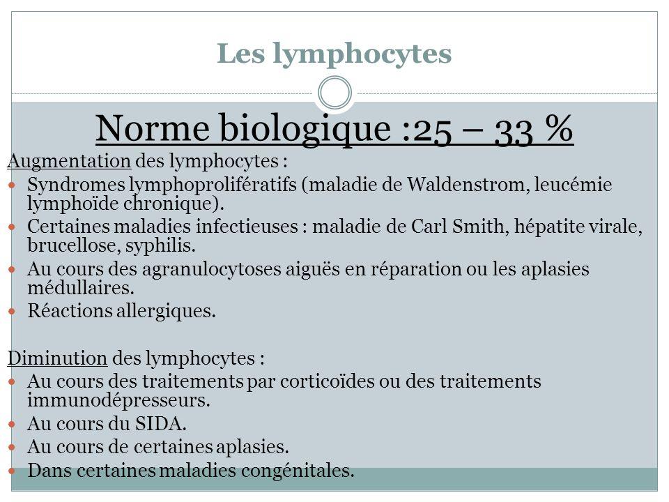 Norme biologique :25 – 33 % Les lymphocytes