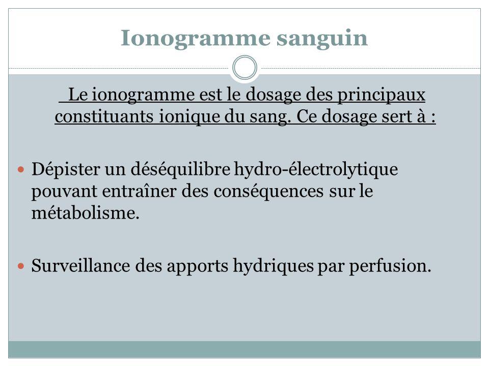 Ionogramme sanguin Le ionogramme est le dosage des principaux constituants ionique du sang. Ce dosage sert à :