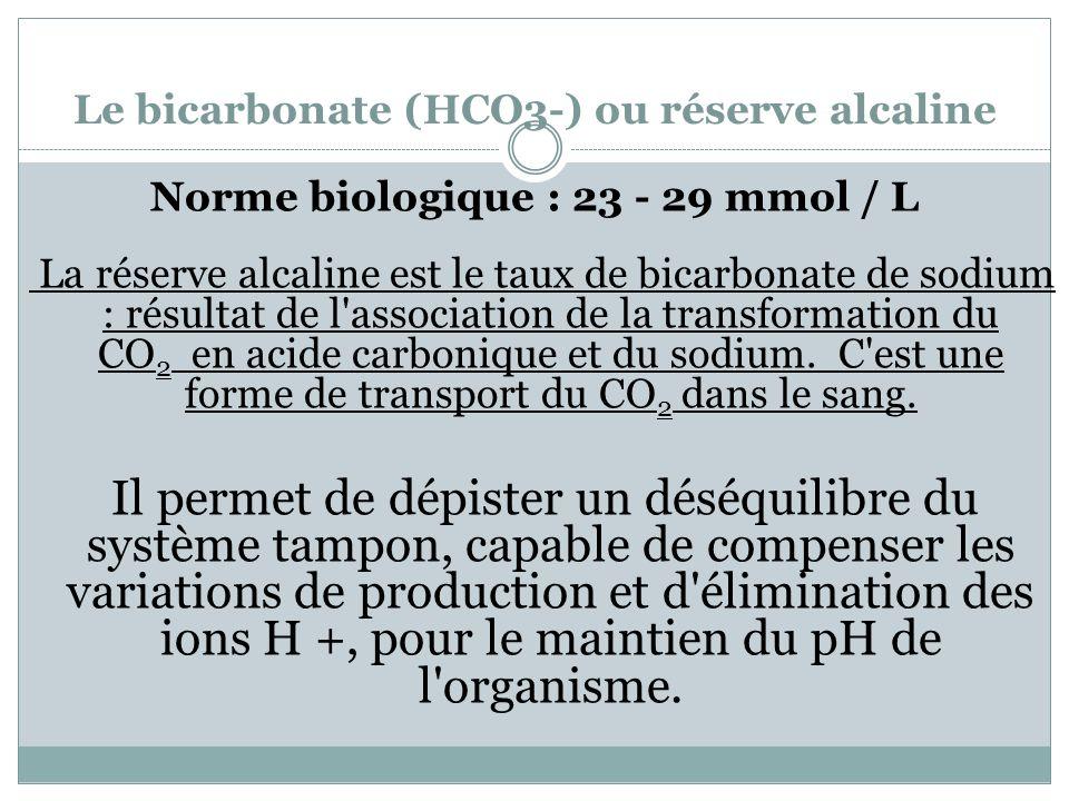 Le bicarbonate (HCO3-) ou réserve alcaline