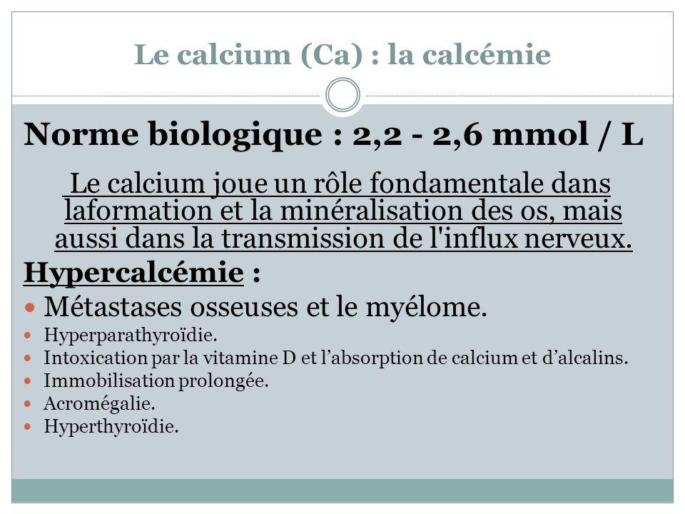 Le calcium (Ca) : la calcémie