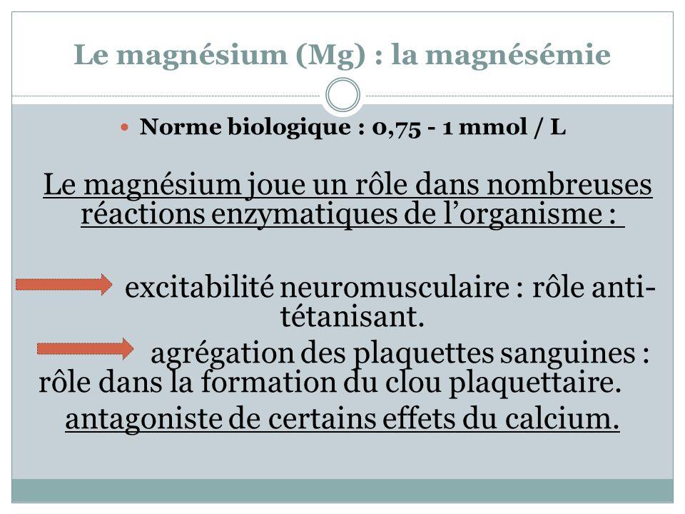 Le magnésium (Mg) : la magnésémie