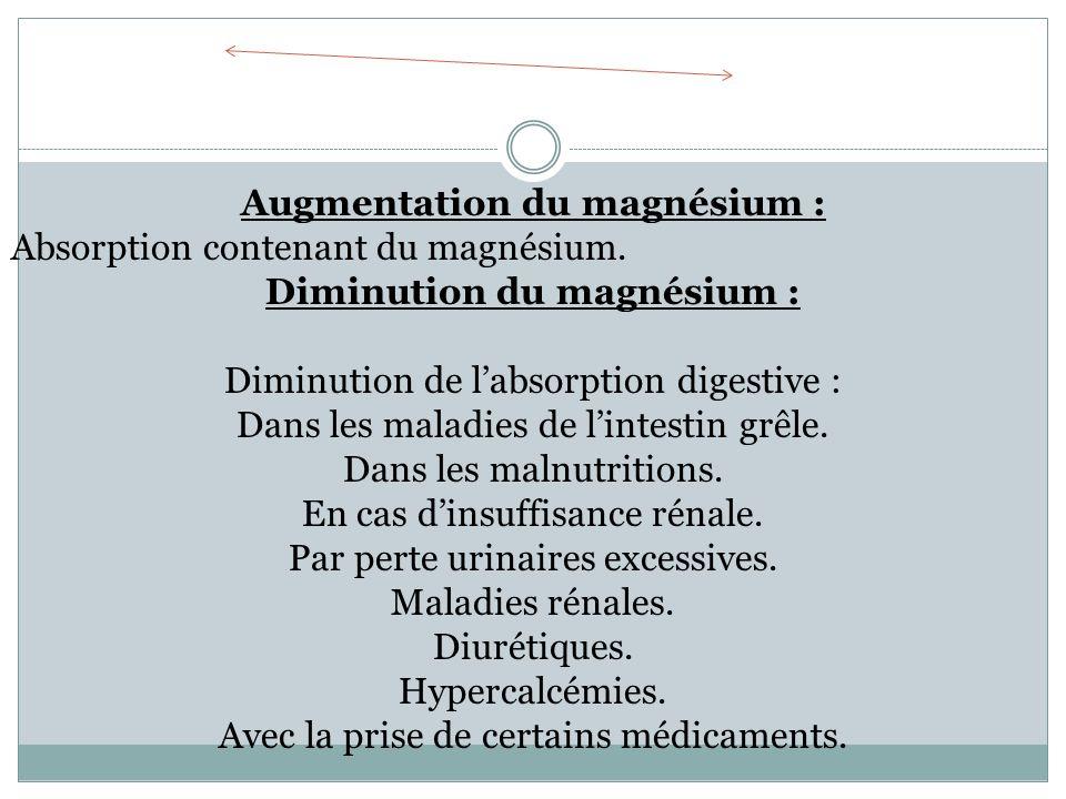 Augmentation du magnésium : Diminution du magnésium :