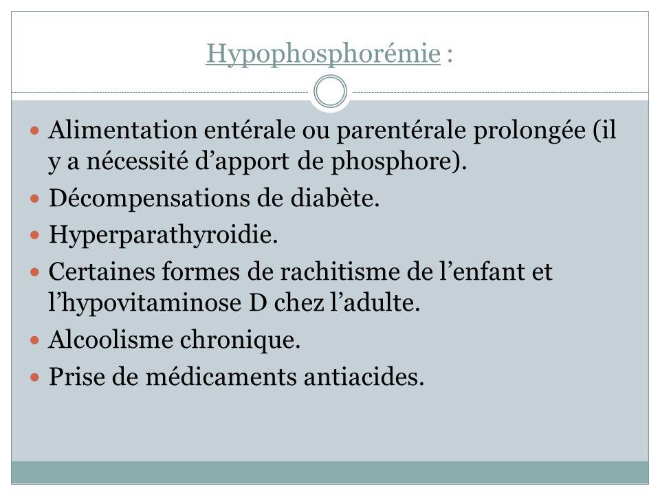 Hypophosphorémie : Alimentation entérale ou parentérale prolongée (il y a nécessité d'apport de phosphore).