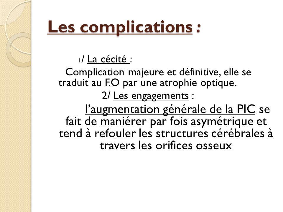 Les complications : 1/ La cécité : Complication majeure et définitive, elle se traduit au F.O par une atrophie optique.