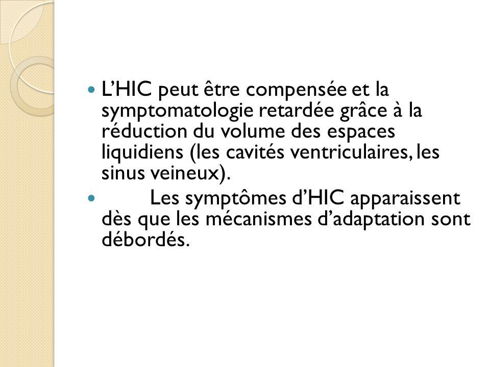 L'HIC peut être compensée et la symptomatologie retardée grâce à la réduction du volume des espaces liquidiens (les cavités ventriculaires, les sinus veineux).