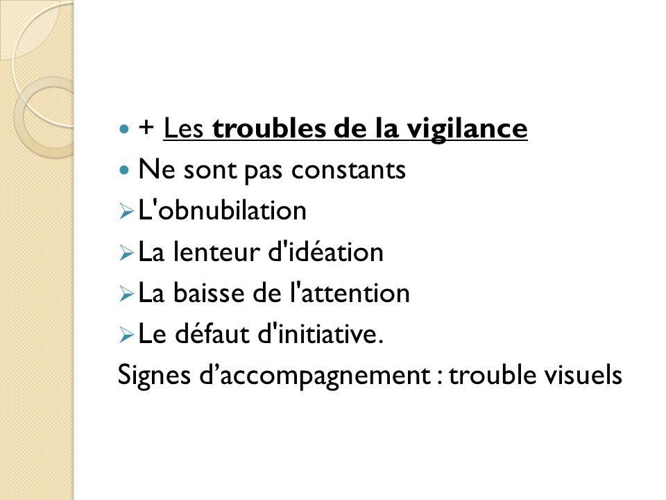 + Les troubles de la vigilance