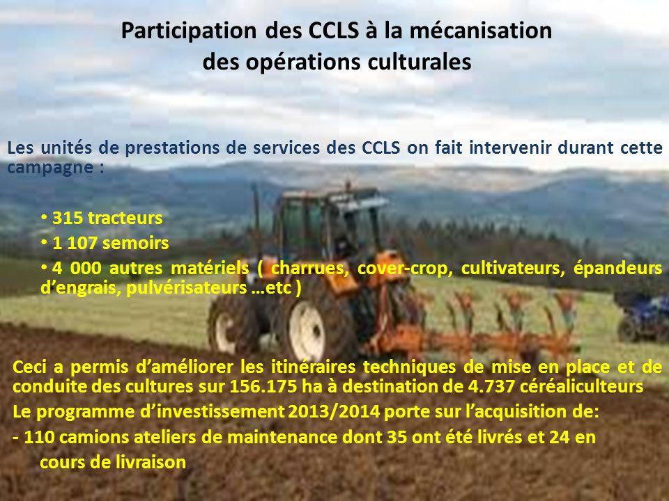 Participation des CCLS à la mécanisation des opérations culturales
