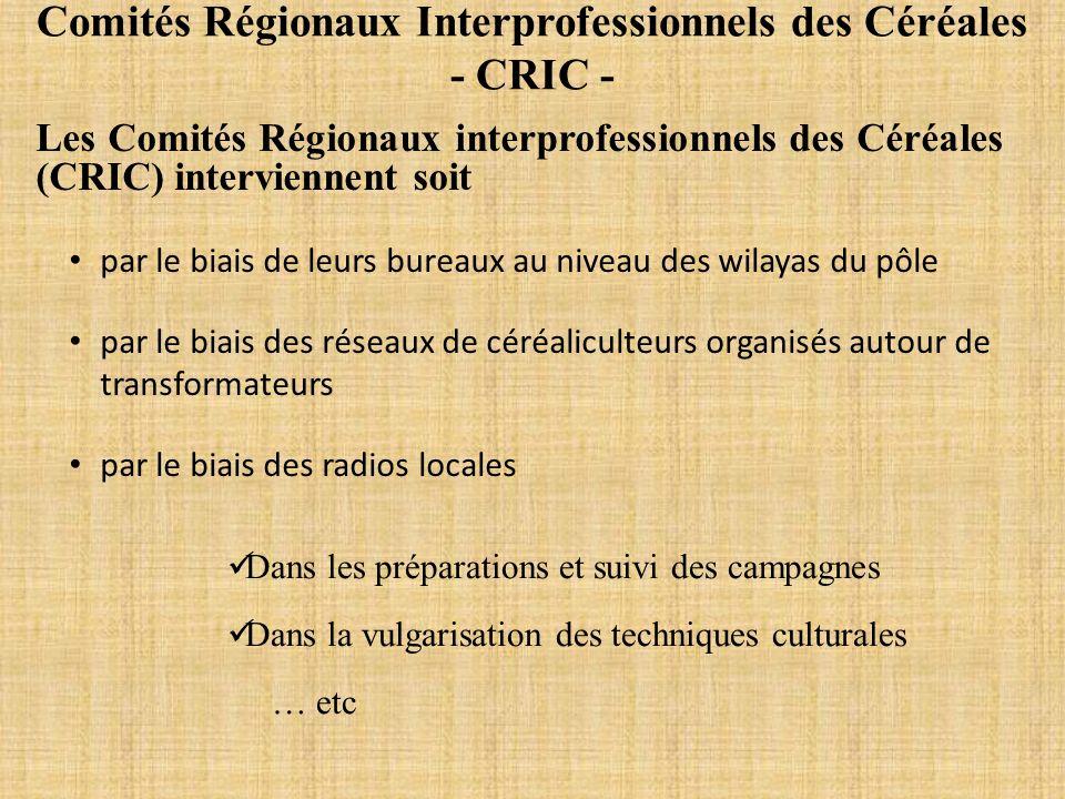 Comités Régionaux Interprofessionnels des Céréales - CRIC -
