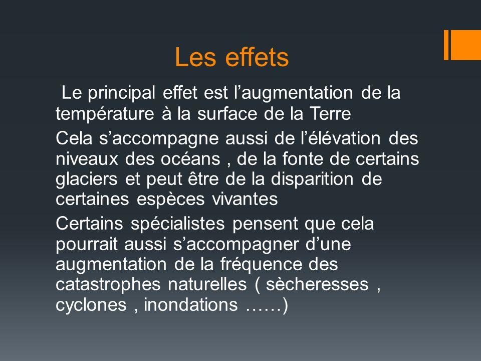 Les effets Le principal effet est l'augmentation de la température à la surface de la Terre.