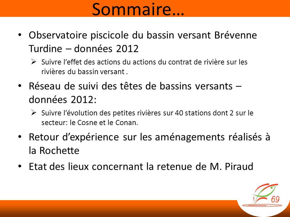 Sommaire… Observatoire piscicole du bassin versant Brévenne Turdine – données 2012.