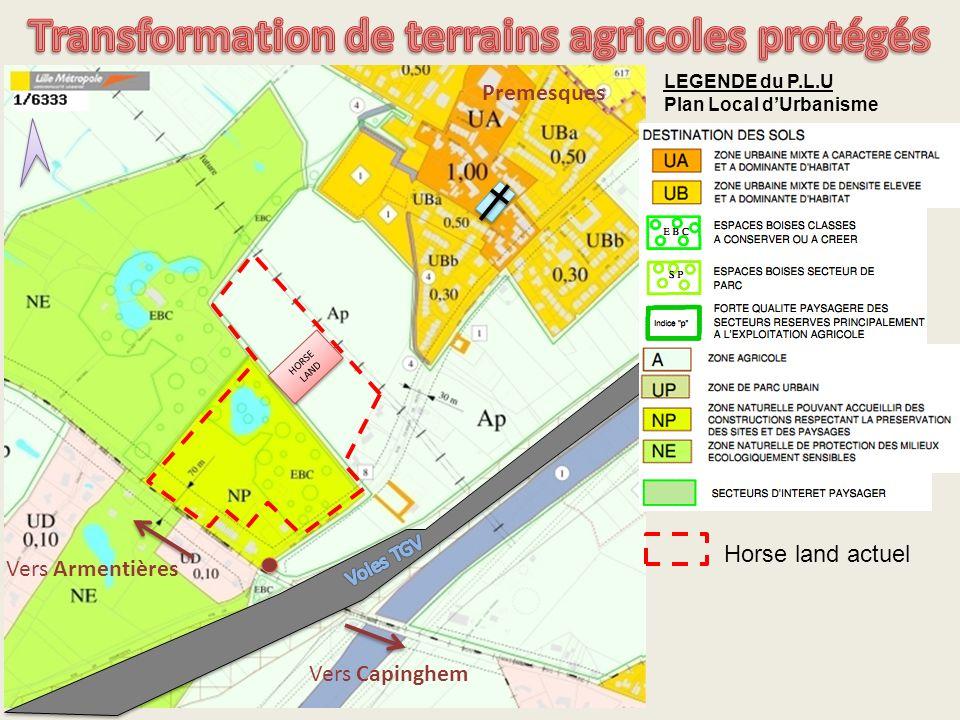 Transformation de terrains agricoles protégés