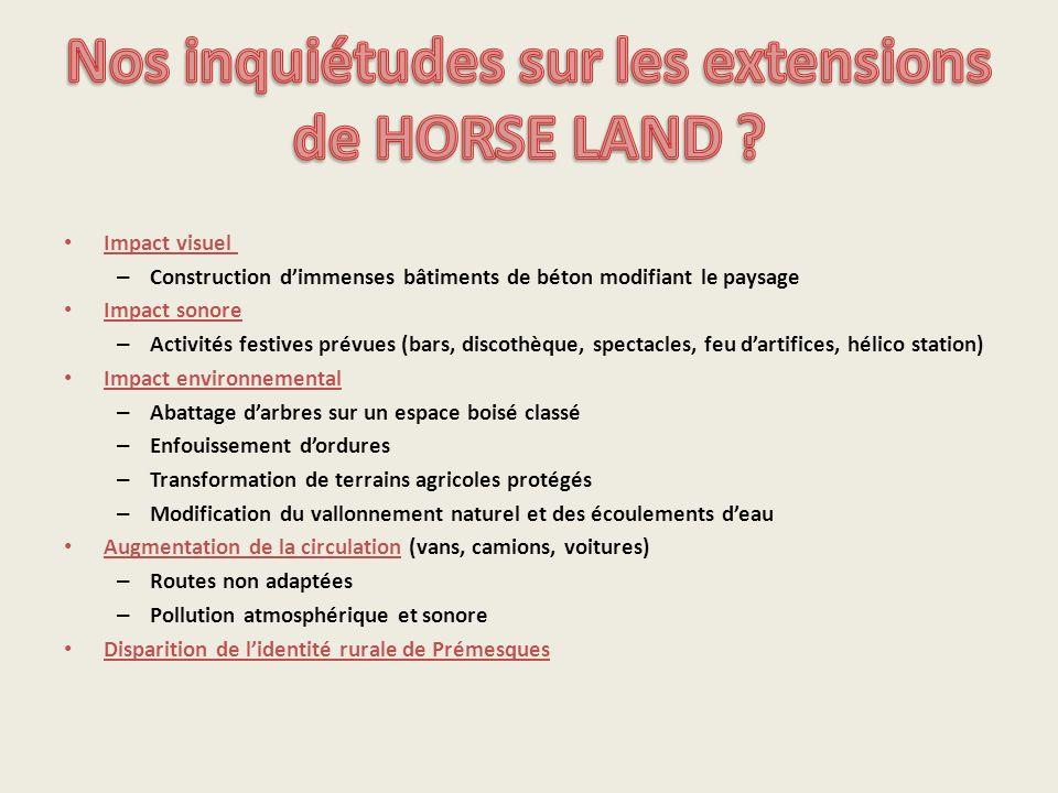 Nos inquiétudes sur les extensions de HORSE LAND