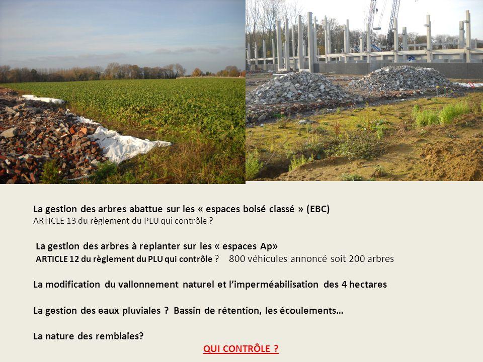 La gestion des arbres abattue sur les « espaces boisé classé » (EBC) ARTICLE 13 du règlement du PLU qui contrôle .