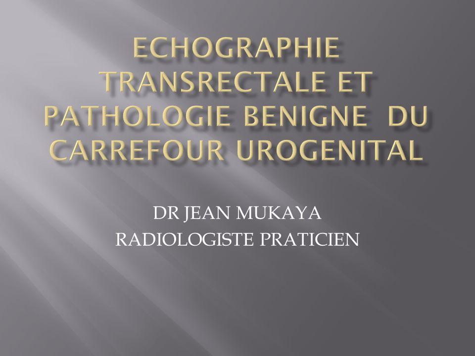 ECHOGRAPHIE TRANSRECTALE ET PATHOLOGIE BENIGNE DU CARREFOUR UROGENITAL