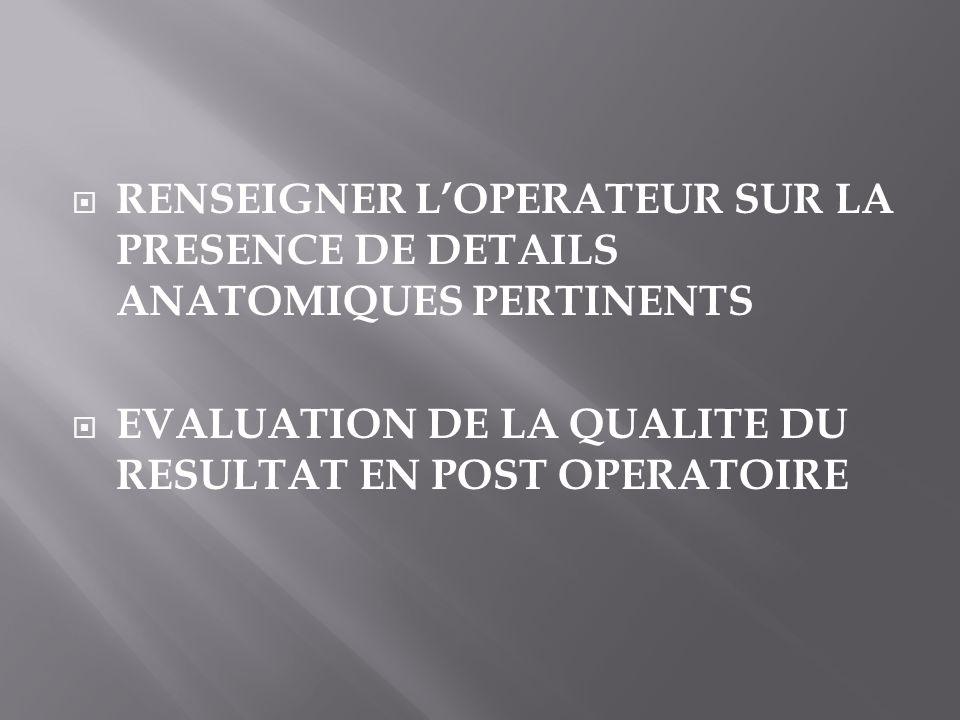 RENSEIGNER L'OPERATEUR SUR LA PRESENCE DE DETAILS ANATOMIQUES PERTINENTS