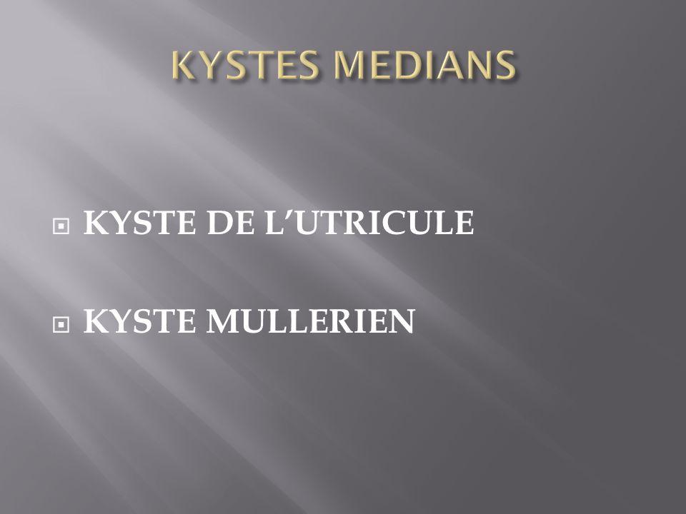 KYSTES MEDIANS KYSTE DE L'UTRICULE KYSTE MULLERIEN
