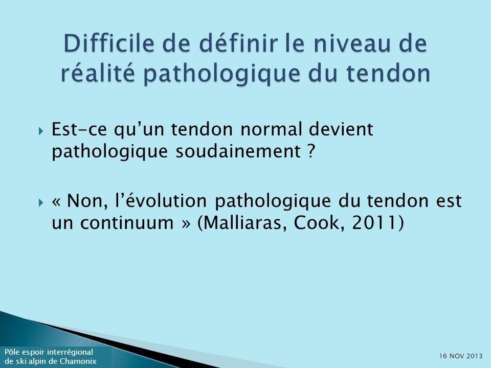 Difficile de définir le niveau de réalité pathologique du tendon