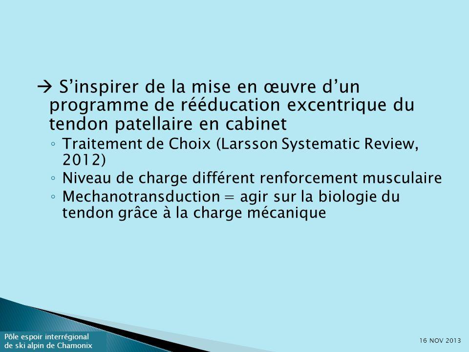  S'inspirer de la mise en œuvre d'un programme de rééducation excentrique du tendon patellaire en cabinet