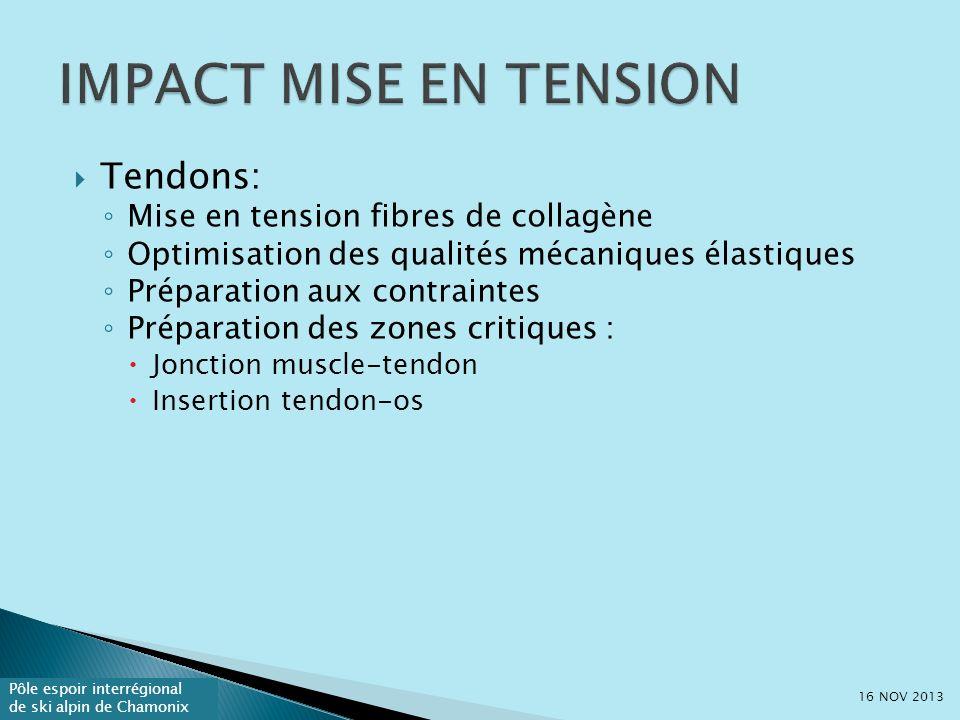 IMPACT MISE EN TENSION Tendons: Mise en tension fibres de collagène