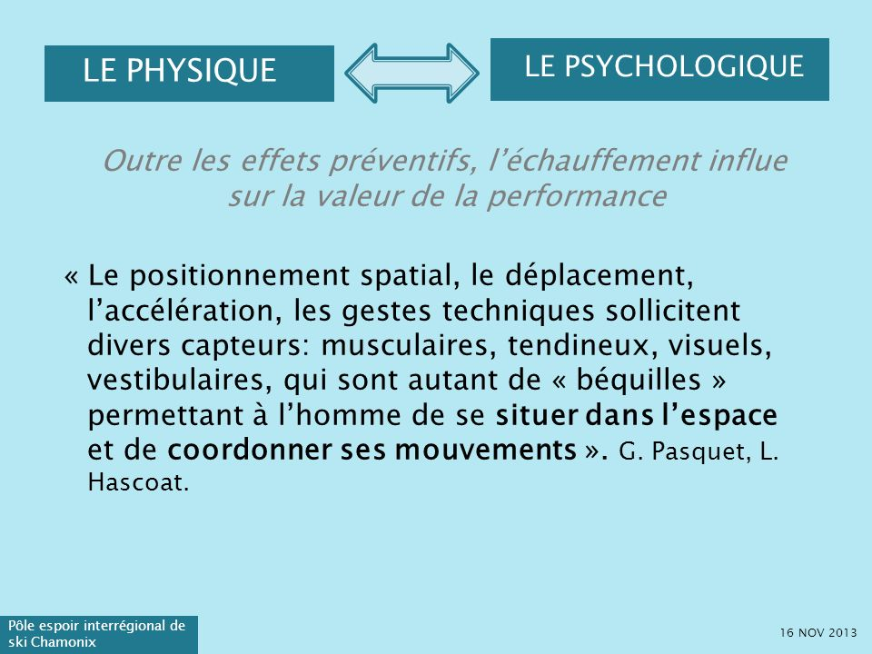 LE PHYSIQUE LE PSYCHOLOGIQUE