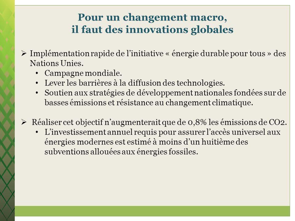 Pour un changement macro, il faut des innovations globales