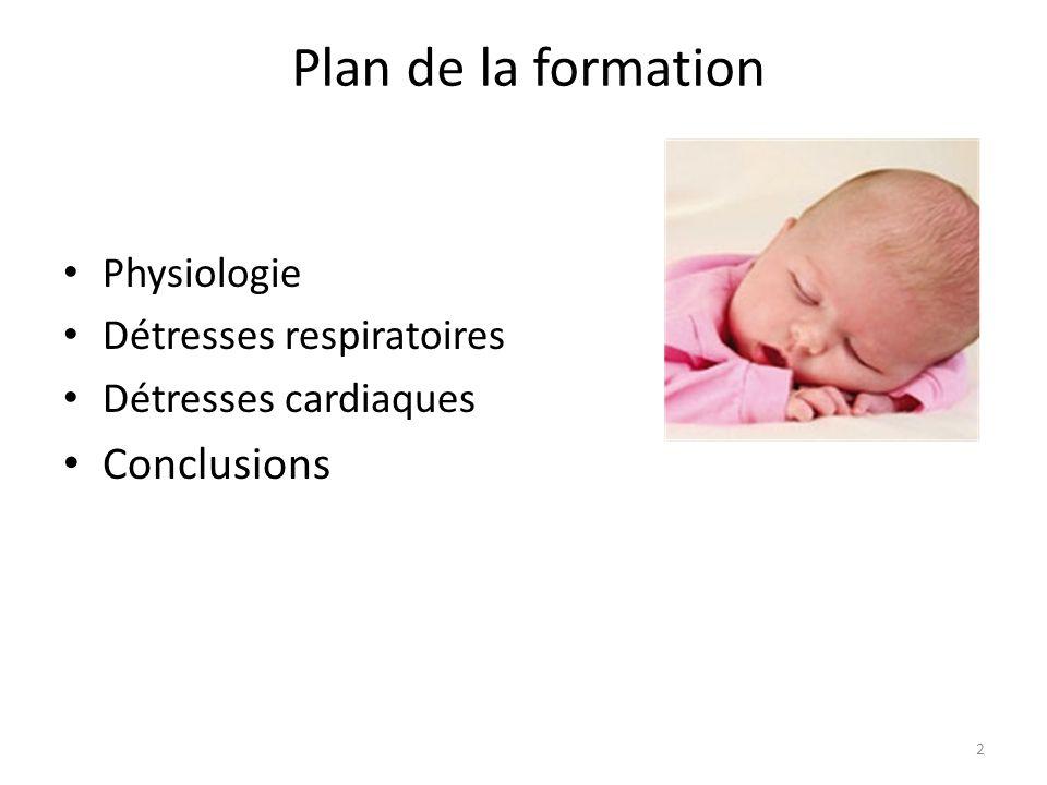 Plan de la formation Conclusions Physiologie Détresses respiratoires