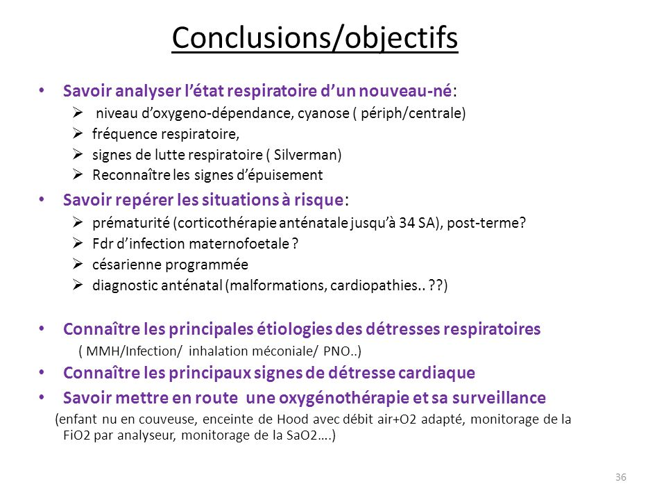 Conclusions/objectifs