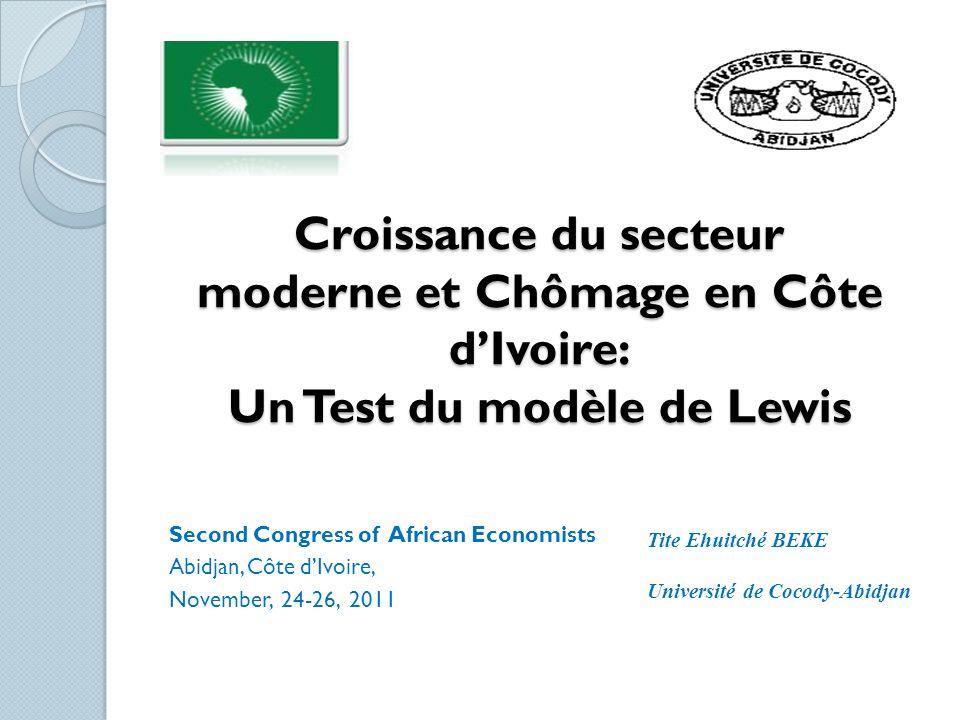 Croissance du secteur moderne et Chômage en Côte d'Ivoire: Un Test du modèle de Lewis
