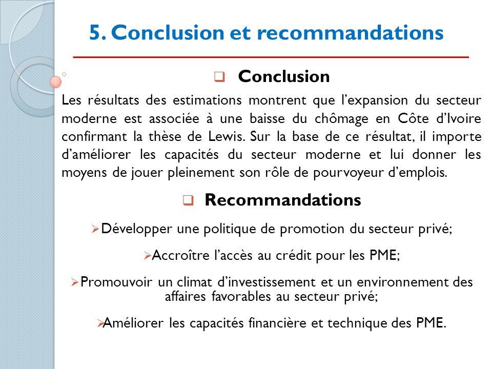 5. Conclusion et recommandations