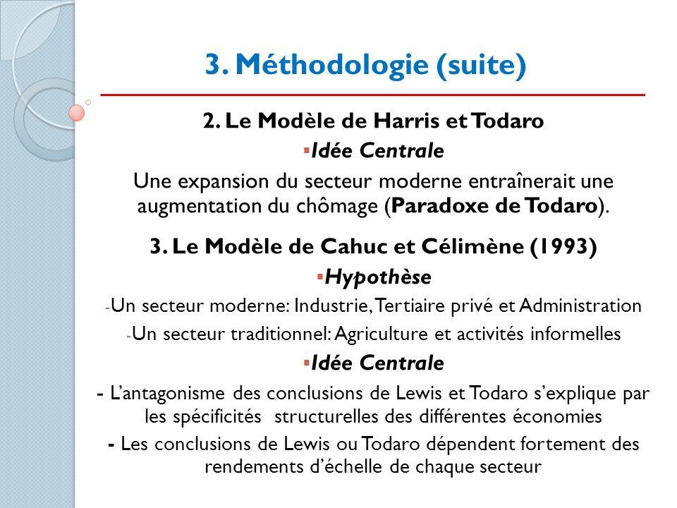 3. Méthodologie (suite) 2. Le Modèle de Harris et Todaro Idée Centrale