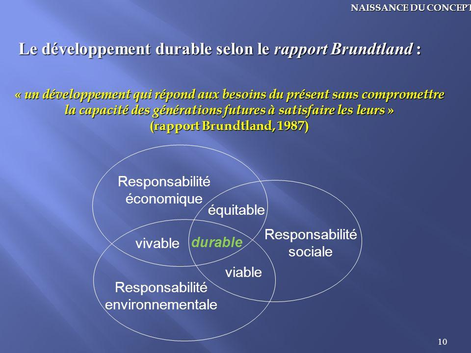Le développement durable selon le rapport Brundtland :