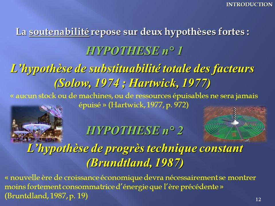 L'hypothèse de substituabilité totale des facteurs