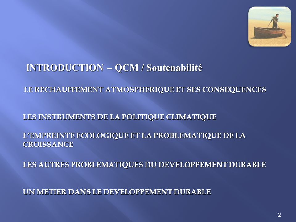 INTRODUCTION – QCM / Soutenabilité