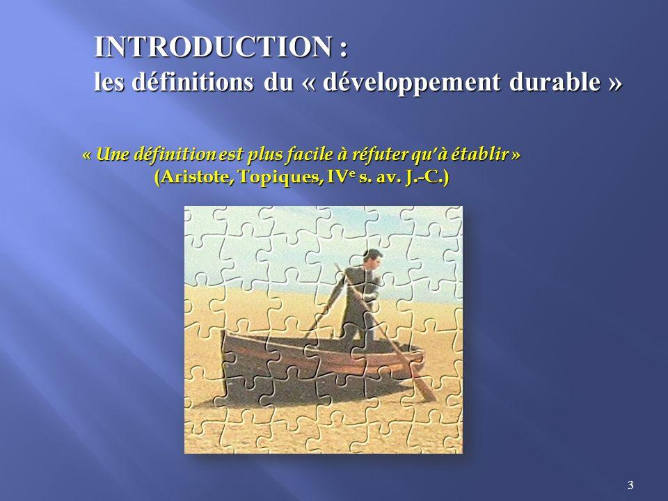 INTRODUCTION : les définitions du « développement durable »