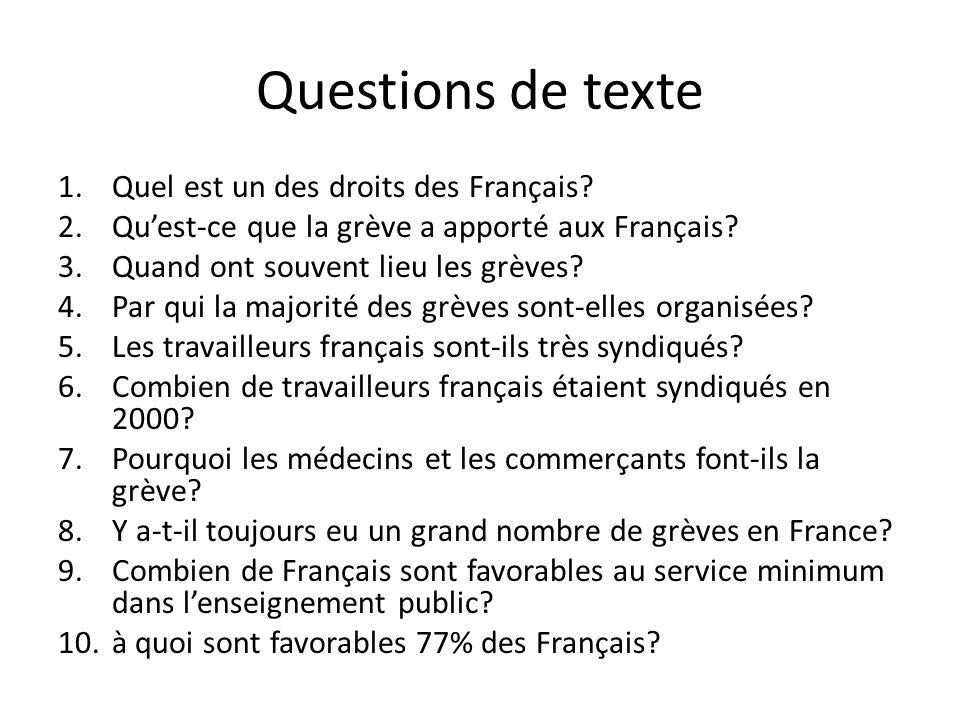 Questions de texte Quel est un des droits des Français