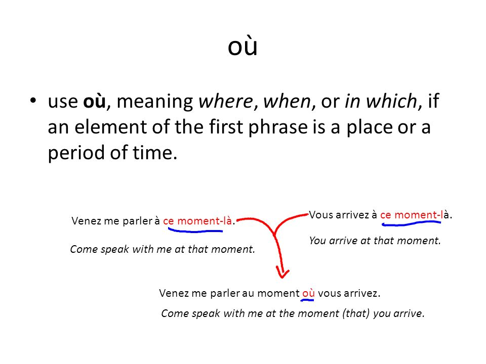 où use où, meaning where, when, or in which, if an element of the first phrase is a place or a period of time.