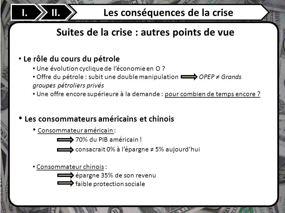 Les conséquences de la crise Suites de la crise : autres points de vue