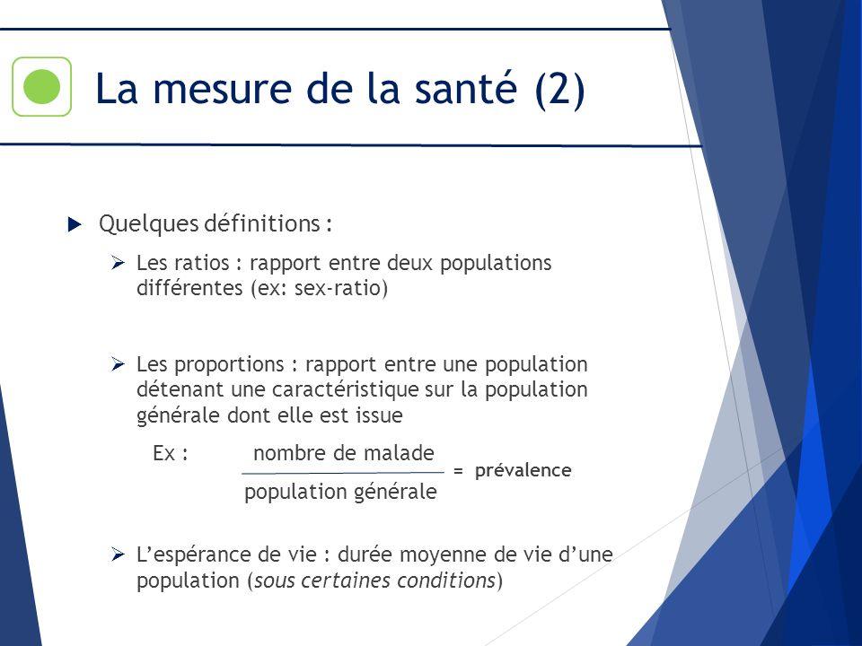 La mesure de la santé (2) Quelques définitions :