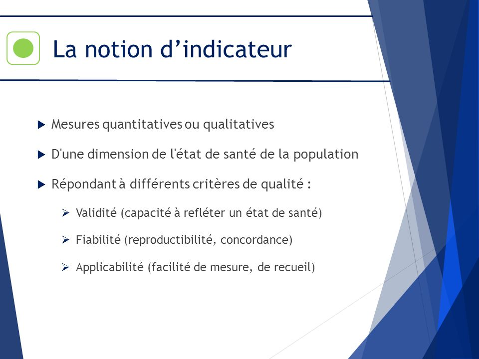 La notion d'indicateur