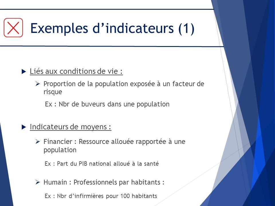 Exemples d'indicateurs (1)