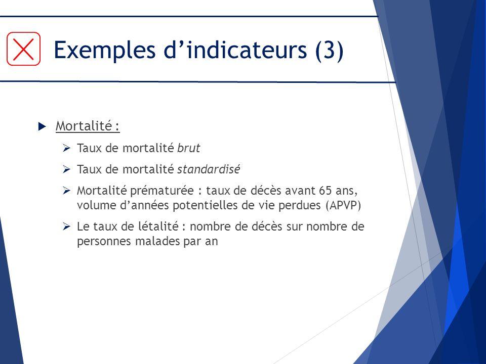 Exemples d'indicateurs (3)