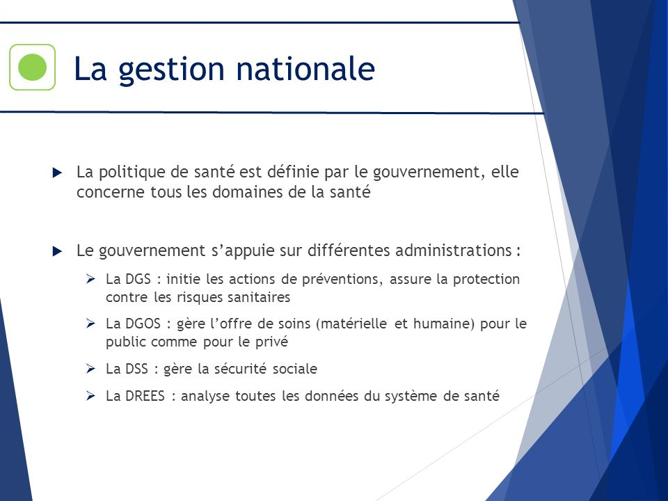 La gestion nationale La politique de santé est définie par le gouvernement, elle concerne tous les domaines de la santé.