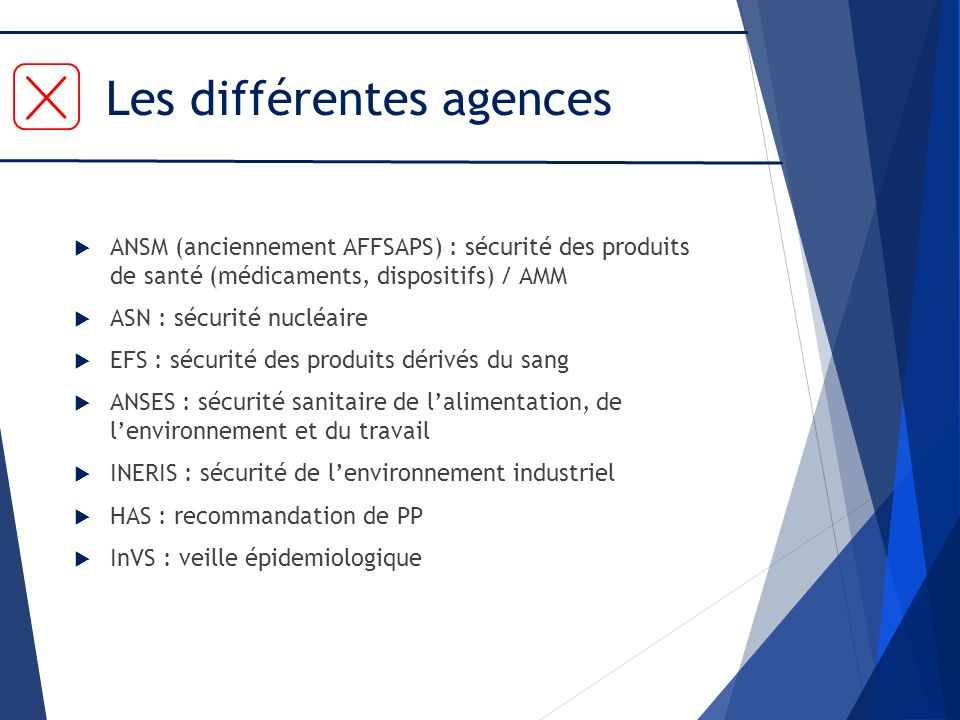 Les différentes agences