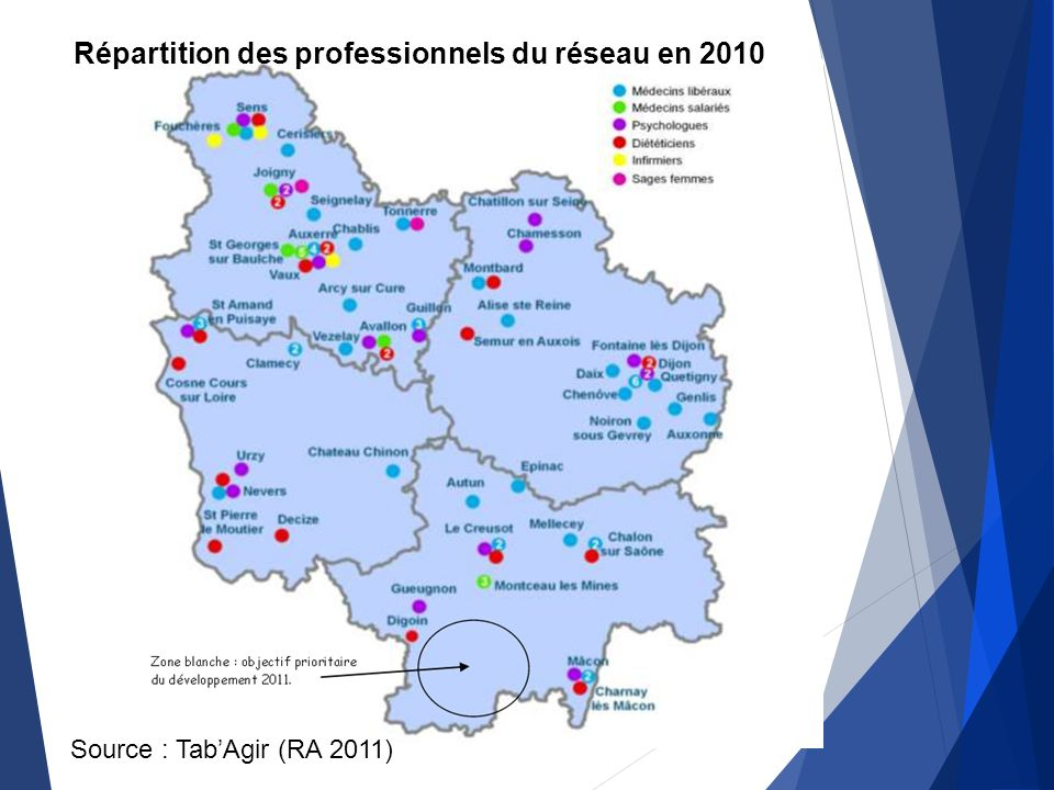 Exemple de réseau Répartition des professionnels du réseau en 2010