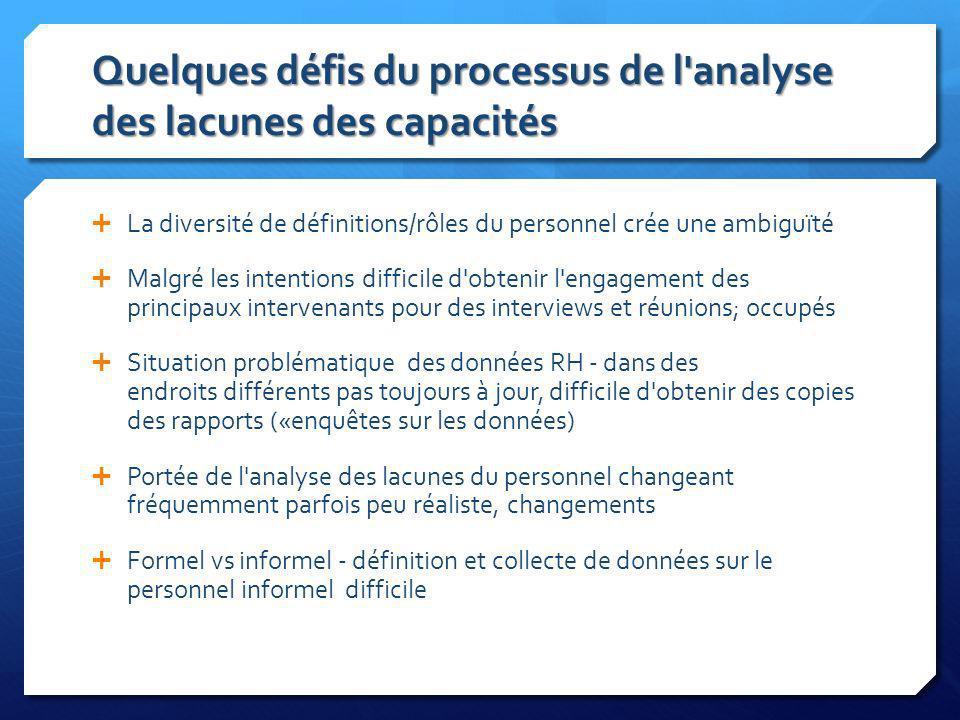 Quelques défis du processus de l analyse des lacunes des capacités