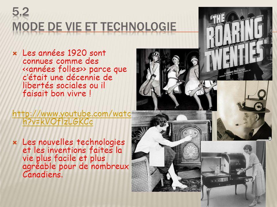 5.2 Mode de vie et technologie