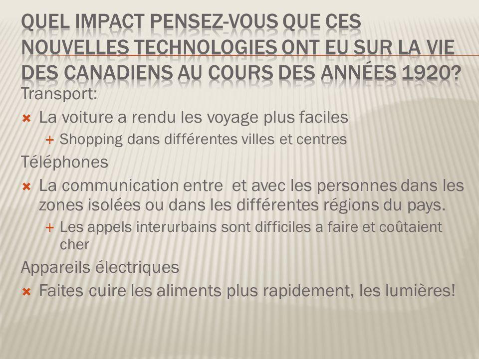 Quel impact pensez-vous que ces nouvelles technologies ont eu sur la vie des Canadiens au cours des années 1920