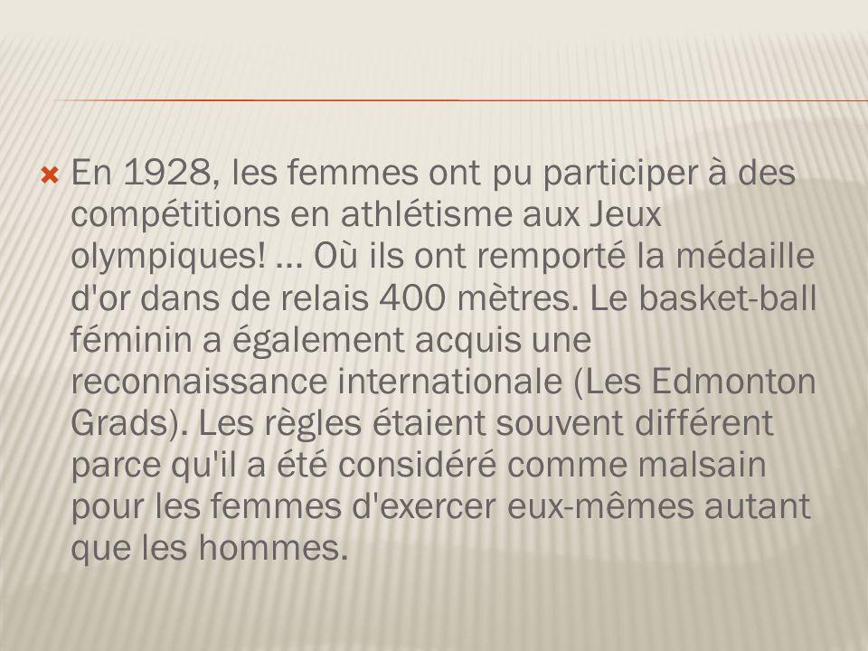 En 1928, les femmes ont pu participer à des compétitions en athlétisme aux Jeux olympiques.