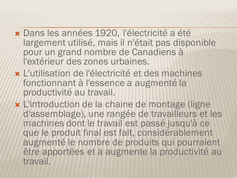 Dans les années 1920, l électricité a été largement utilisé, mais il n était pas disponible pour un grand nombre de Canadiens à l extérieur des zones urbaines.